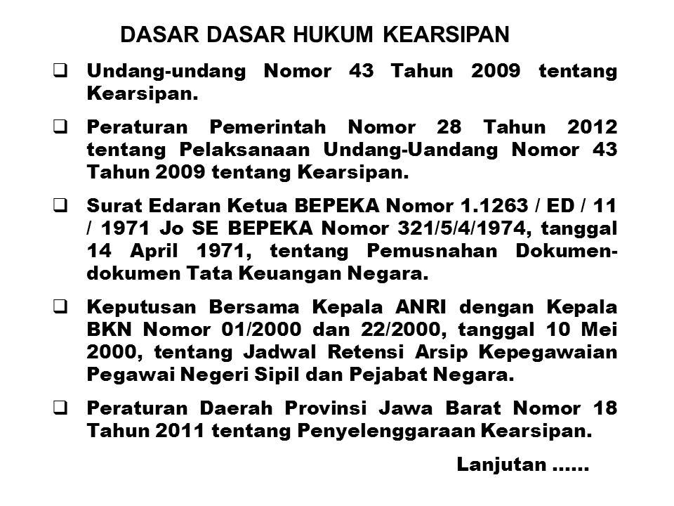 DASAR DASAR HUKUM KEARSIPAN  Undang-undang Nomor 43 Tahun 2009 tentang Kearsipan.  Peraturan Pemerintah Nomor 28 Tahun 2012 tentang Pelaksanaan Unda