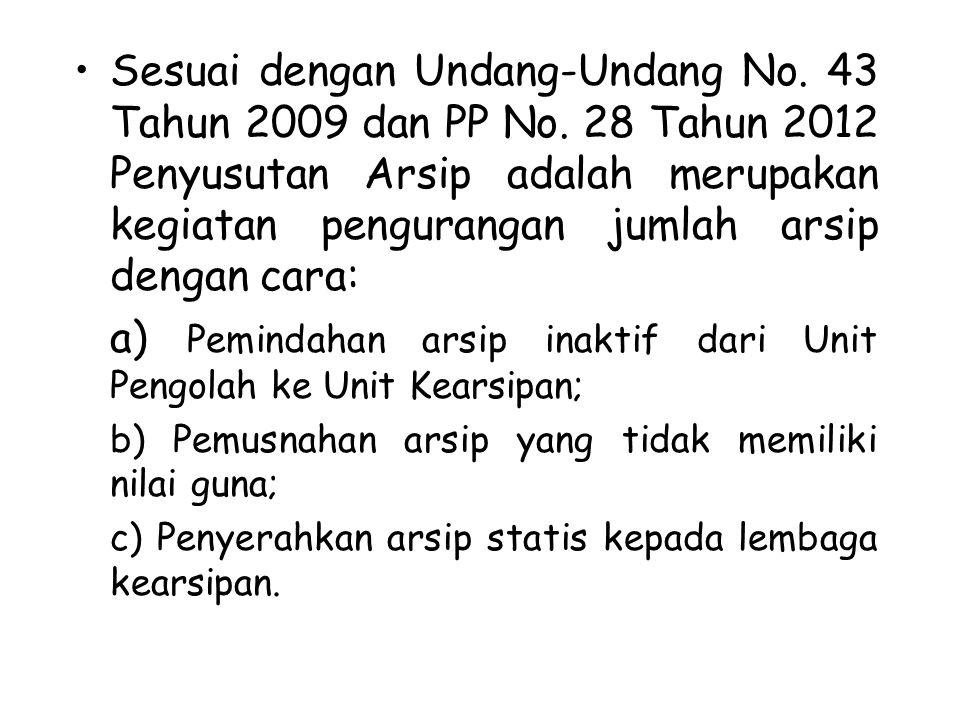 Sesuai dengan Undang-Undang No. 43 Tahun 2009 dan PP No. 28 Tahun 2012 Penyusutan Arsip adalah merupakan kegiatan pengurangan jumlah arsip dengan cara