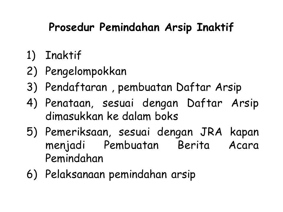 Prosedur Pemindahan Arsip Inaktif 1)Inaktif 2)Pengelompokkan 3)Pendaftaran, pembuatan Daftar Arsip 4)Penataan, sesuai dengan Daftar Arsip dimasukkan k