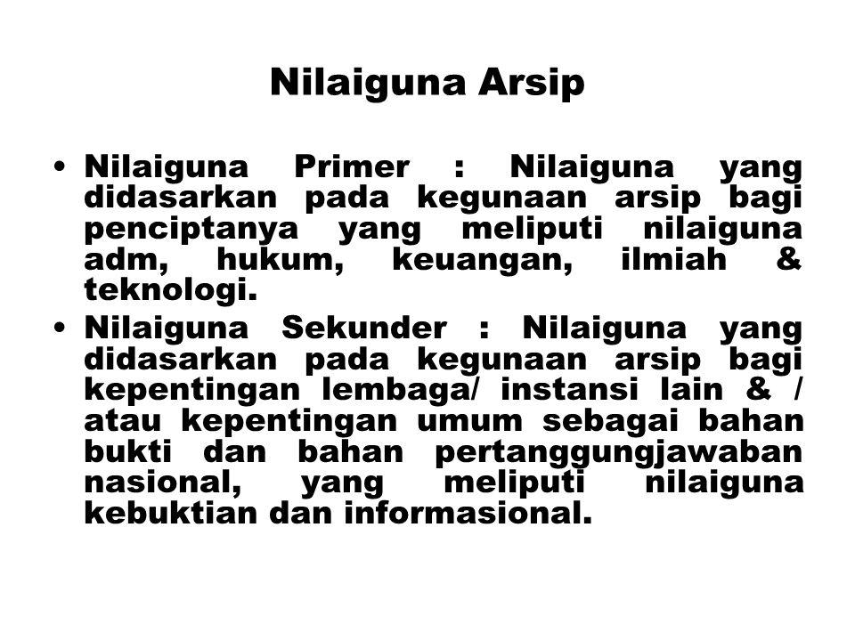 Nilaiguna Arsip Nilaiguna Primer : Nilaiguna yang didasarkan pada kegunaan arsip bagi penciptanya yang meliputi nilaiguna adm, hukum, keuangan, ilmiah