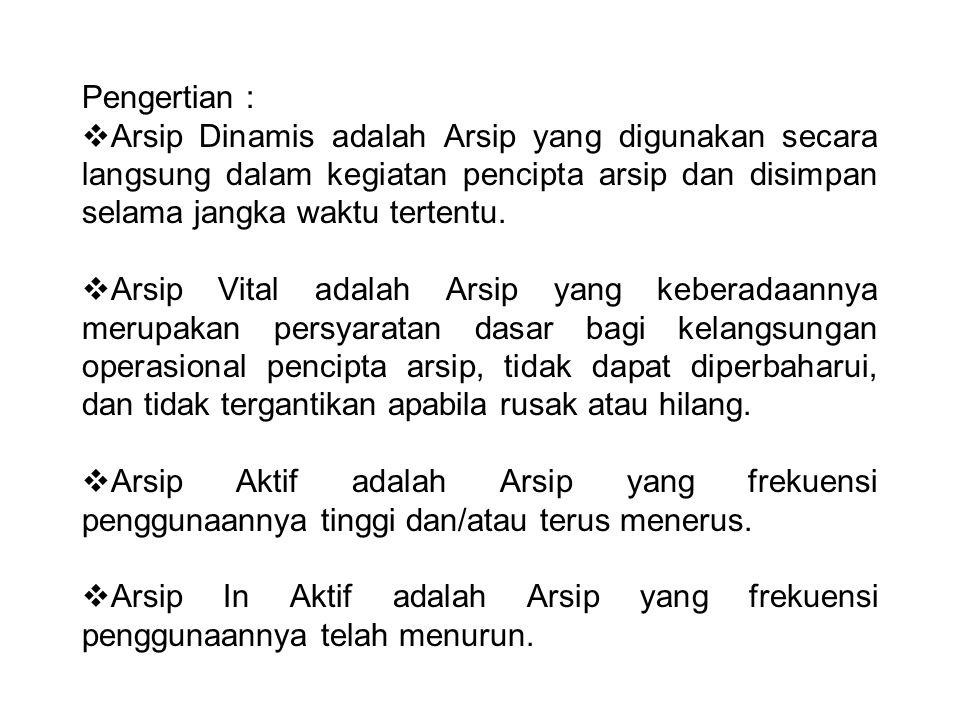 Prosedur Pemusnahan Arsip 1)Pemeriksaan  JRA 2)Pendaftaran memisahkan arsip-arsip pada tempat tersendiri kemudian dicatat dalam daftar arsip usul musnah (DAUM) rangkap dua.