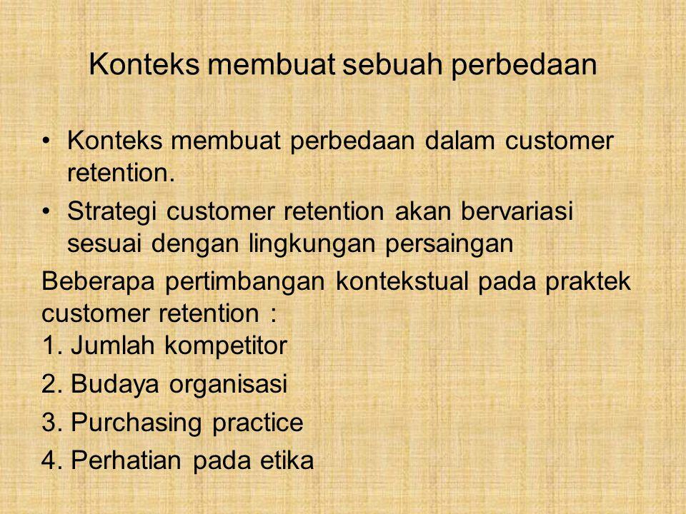 Konteks membuat sebuah perbedaan Konteks membuat perbedaan dalam customer retention.