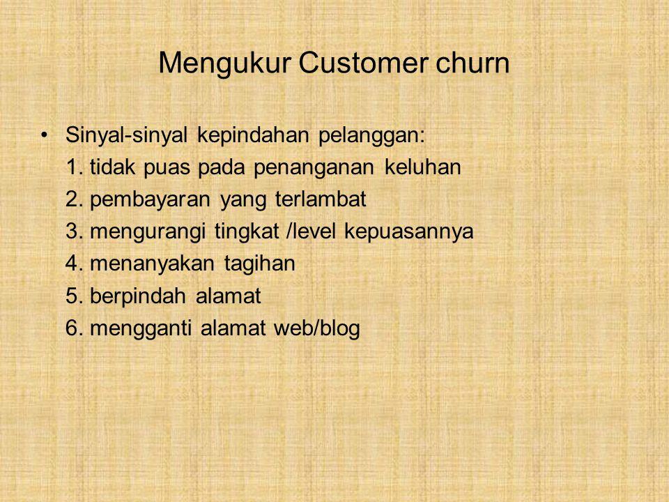 Mengukur Customer churn Sinyal-sinyal kepindahan pelanggan: 1.
