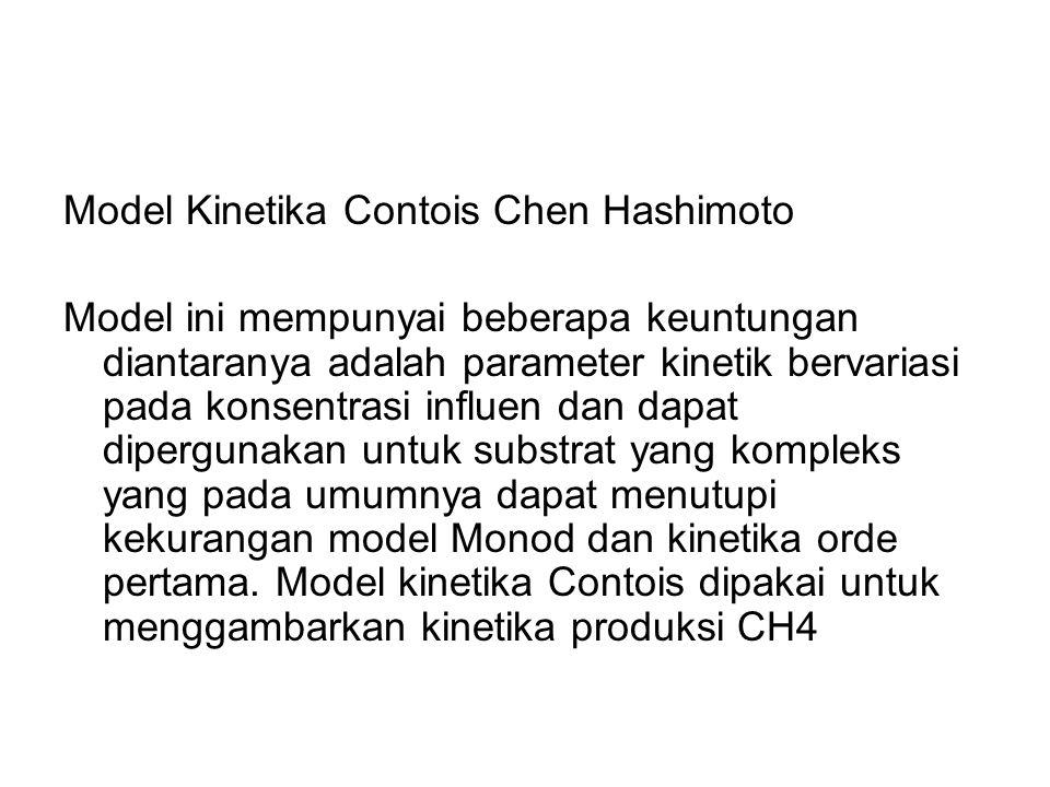 Model Kinetika Contois Chen Hashimoto Model ini mempunyai beberapa keuntungan diantaranya adalah parameter kinetik bervariasi pada konsentrasi influen dan dapat dipergunakan untuk substrat yang kompleks yang pada umumnya dapat menutupi kekurangan model Monod dan kinetika orde pertama.