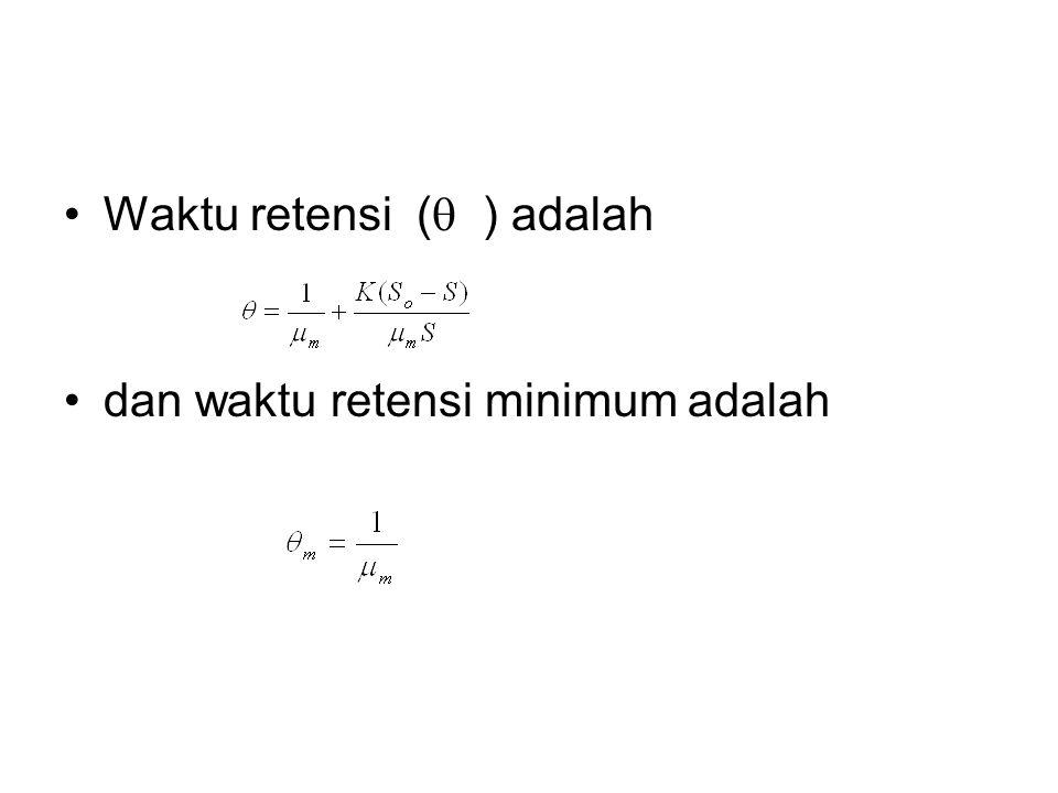 Waktu retensi (  ) adalah dan waktu retensi minimum adalah