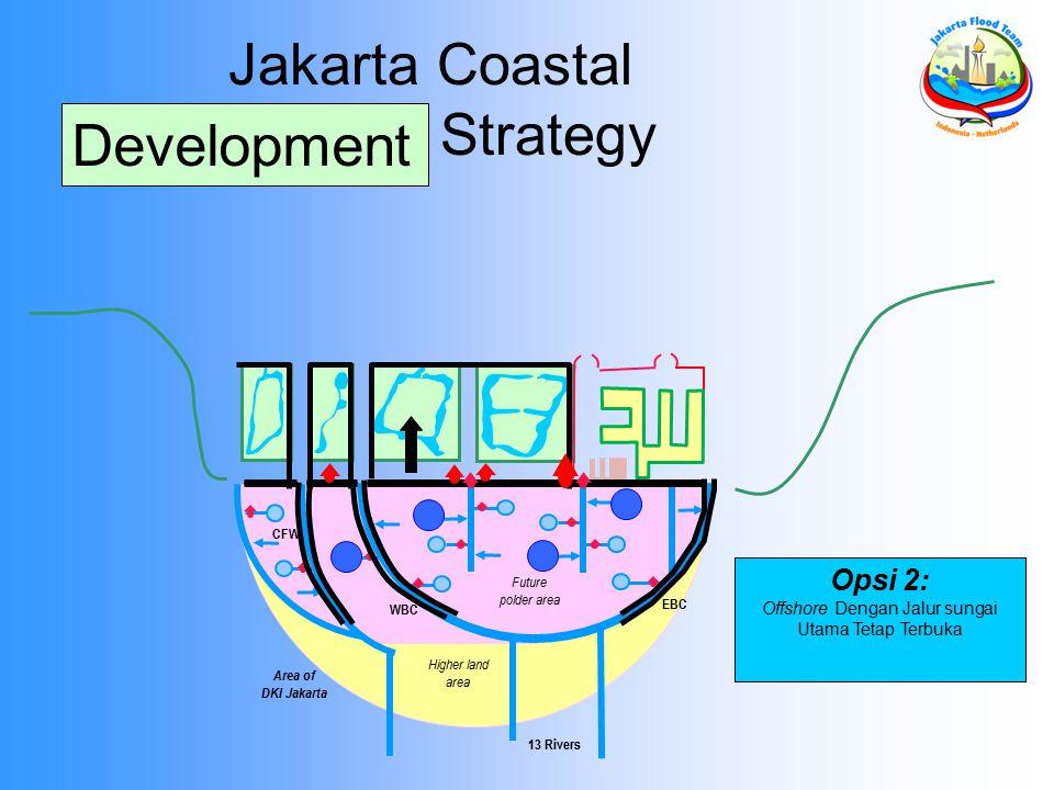 Area of DKI Jakarta 13 Rivers EBC WBC Future polder area Higher land area CFW Jakarta Coastal Defense Strategy Opsi 2: Offshore Dengan Jalur sungai Utama Tetap Terbuka Development