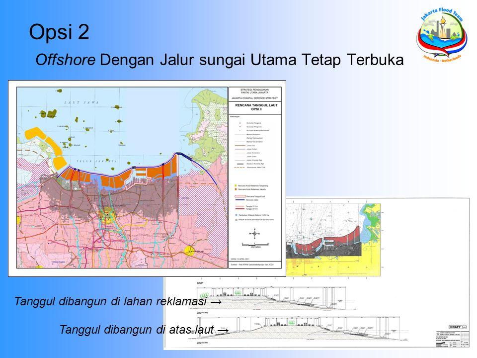 Opsi 2 Offshore Dengan Jalur sungai Utama Tetap Terbuka Tanggul dibangun di lahan reklamasi → Tanggul dibangun di atas laut →