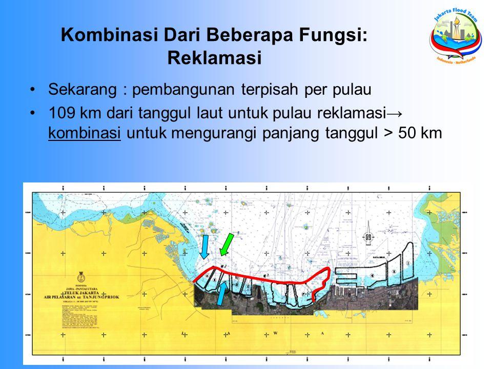 Kombinasi Dari Beberapa Fungsi: Reklamasi Sekarang : pembangunan terpisah per pulau 109 km dari tanggul laut untuk pulau reklamasi→ kombinasi untuk mengurangi panjang tanggul > 50 km