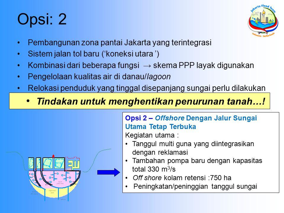 Opsi: 2 Pembangunan zona pantai Jakarta yang terintegrasi Sistem jalan tol baru ('koneksi utara ') Kombinasi dari beberapa fungsi → skema PPP layak digunakan Pengelolaan kualitas air di danau/lagoon Relokasi penduduk yang tinggal disepanjang sungai perlu dilakukan Opsi 2 – Offshore Dengan Jalur Sungai Utama Tetap Terbuka Kegiatan utama : Tanggul multi guna yang diintegrasikan dengan reklamasi Tambahan pompa baru dengan kapasitas total 330 m 3 /s Off shore kolam retensi :750 ha Peningkatan/peninggian tanggul sungai Tindakan untuk menghentikan penurunan tanah…!