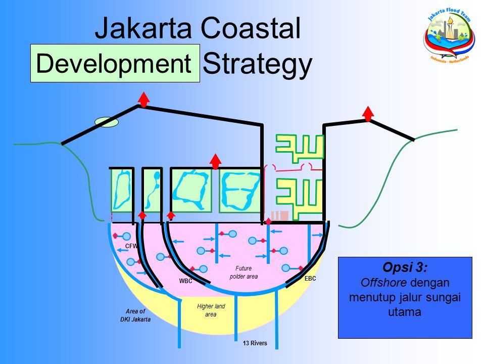 Area of DKI Jakarta 13 Rivers EBC WBC Future polder area Higher land area CFW Opsi 3: Offshore dengan menutup jalur sungai utama Jakarta Coastal Defen
