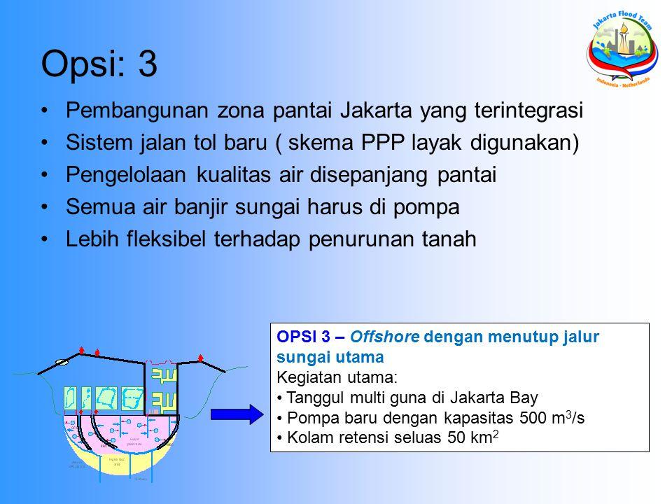 Opsi: 3 Pembangunan zona pantai Jakarta yang terintegrasi Sistem jalan tol baru ( skema PPP layak digunakan) Pengelolaan kualitas air disepanjang pantai Semua air banjir sungai harus di pompa Lebih fleksibel terhadap penurunan tanah OPSI 3 – Offshore dengan menutup jalur sungai utama Kegiatan utama: Tanggul multi guna di Jakarta Bay Pompa baru dengan kapasitas 500 m 3 /s Kolam retensi seluas 50 km 2