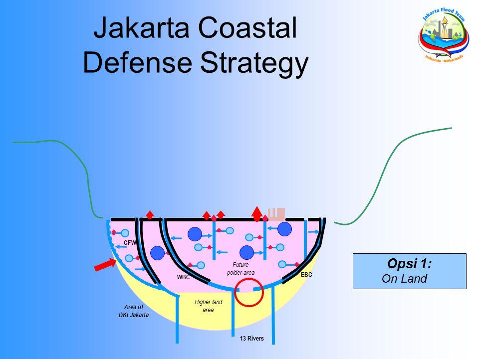 Area of DKI Jakarta 13 Rivers EBC WBC Future polder area Higher land area CFW Opsi 1: On Land Jakarta Coastal Defense Strategy