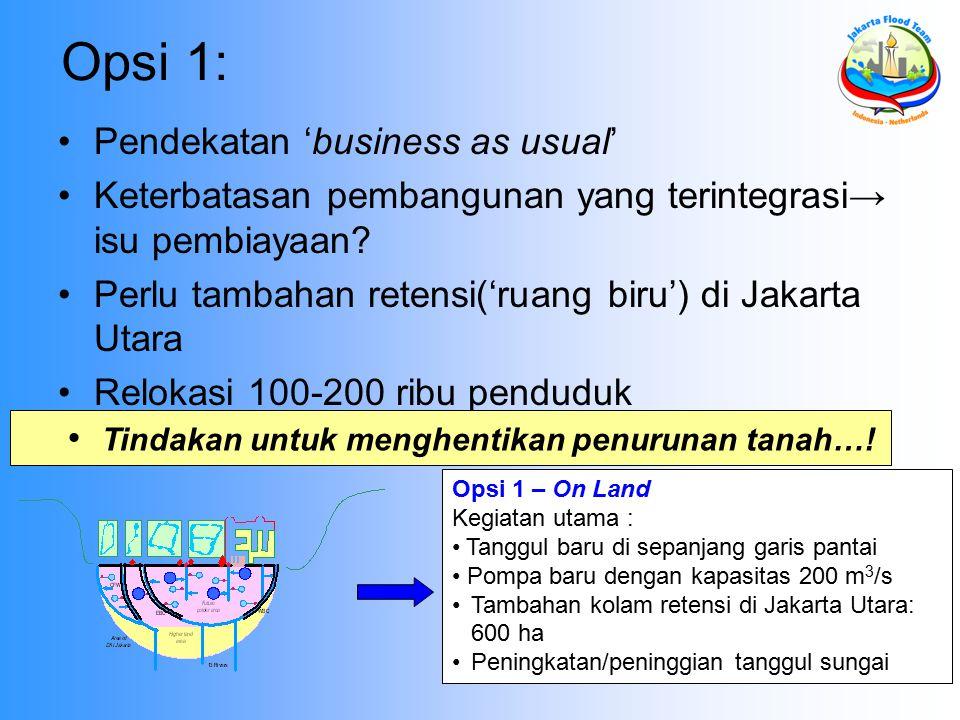 Opsi 1 – On Land Kegiatan utama : Tanggul baru di sepanjang garis pantai Pompa baru dengan kapasitas 200 m 3 /s Tambahan kolam retensi di Jakarta Utara: 600 ha Peningkatan/peninggian tanggul sungai Opsi 1: Pendekatan 'business as usual' Keterbatasan pembangunan yang terintegrasi→ isu pembiayaan.