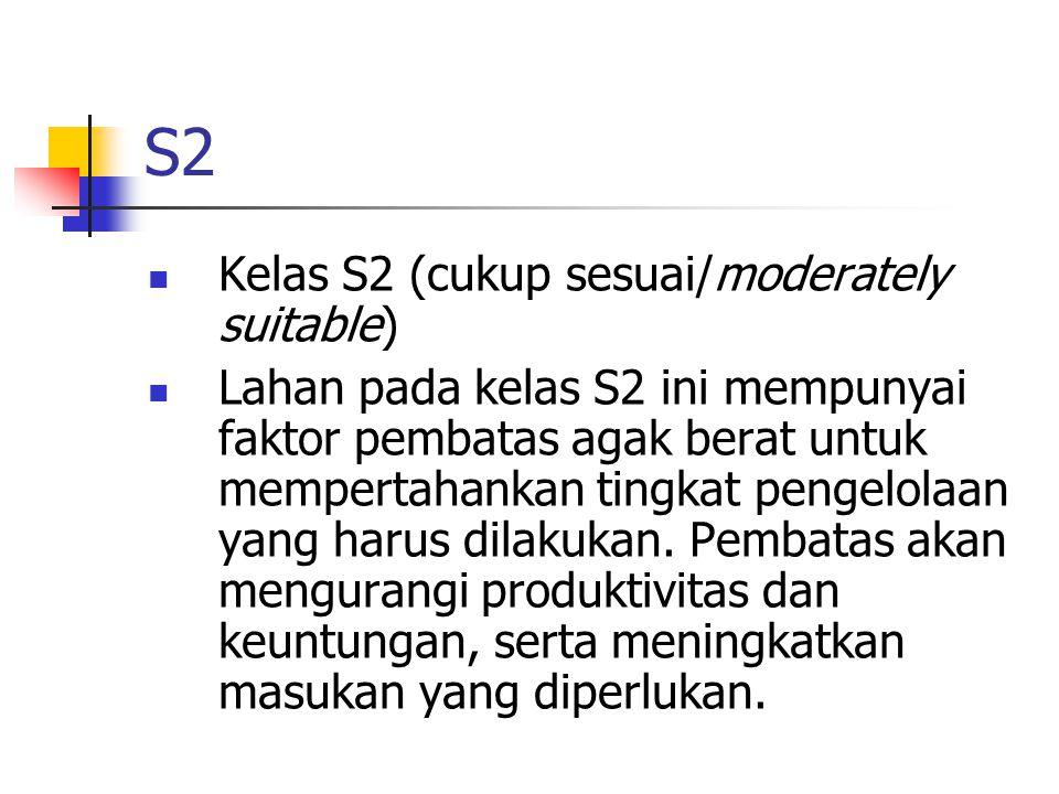 S2 Kelas S2 (cukup sesuai/moderately suitable) Lahan pada kelas S2 ini mempunyai faktor pembatas agak berat untuk mempertahankan tingkat pengelolaan yang harus dilakukan.