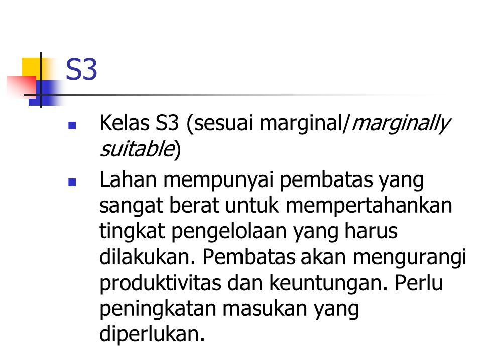 S3 Kelas S3 (sesuai marginal/marginally suitable) Lahan mempunyai pembatas yang sangat berat untuk mempertahankan tingkat pengelolaan yang harus dilak