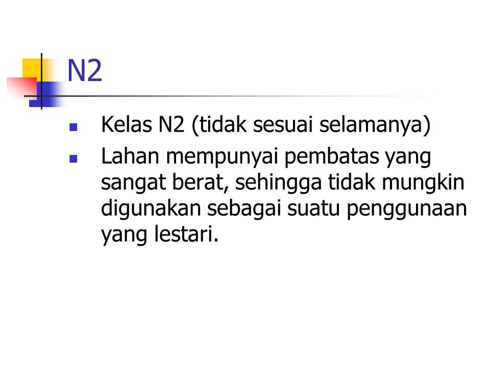 N2 Kelas N2 (tidak sesuai selamanya) Lahan mempunyai pembatas yang sangat berat, sehingga tidak mungkin digunakan sebagai suatu penggunaan yang lestari.