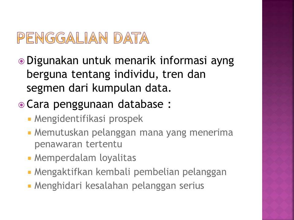  Digunakan untuk menarik informasi ayng berguna tentang individu, tren dan segmen dari kumpulan data.  Cara penggunaan database :  Mengidentifikasi