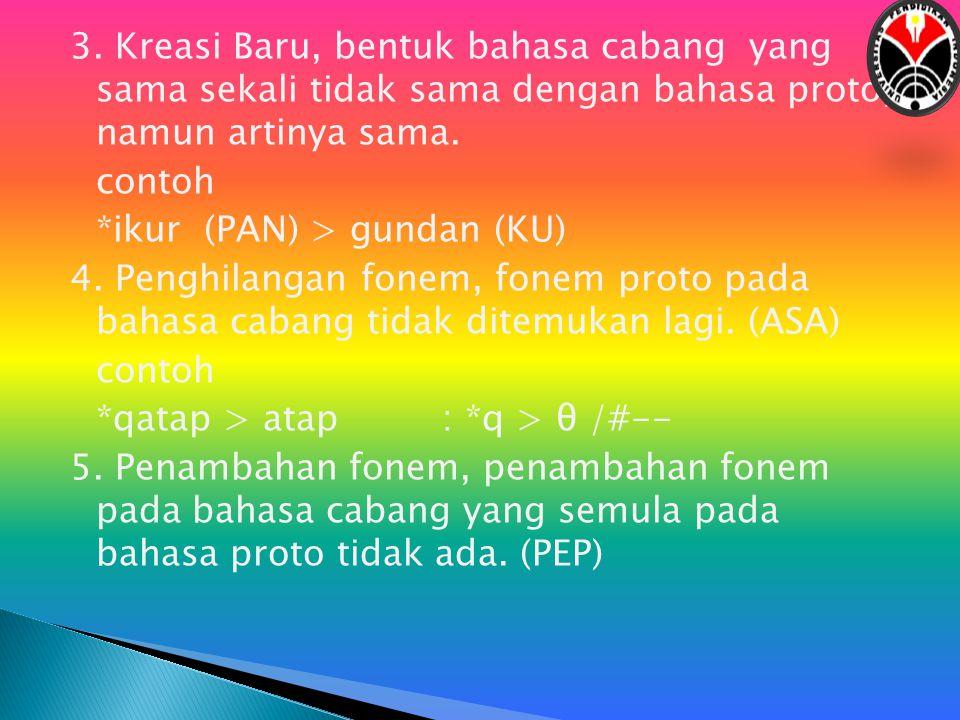 3. Kreasi Baru, bentuk bahasa cabang yang sama sekali tidak sama dengan bahasa proto, namun artinya sama. contoh *ikur (PAN) > gundan (KU) 4. Penghila