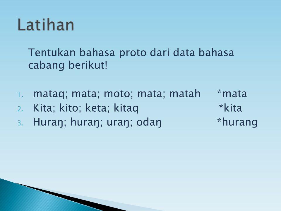 Tentukan bahasa proto dari data bahasa cabang berikut! 1. mataq; mata; moto; mata; matah *mata 2. Kita; kito; keta; kitaq *kita 3. Huraŋ; huraŋ; uraŋ;
