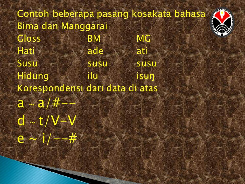 Contoh beberapa pasang kosakata bahasa Bima dan Manggarai GlossBMMG Hatiadeati Susususususu Hidungiluisuŋ Korespondensi dari data di atas a ~ a/#-- d