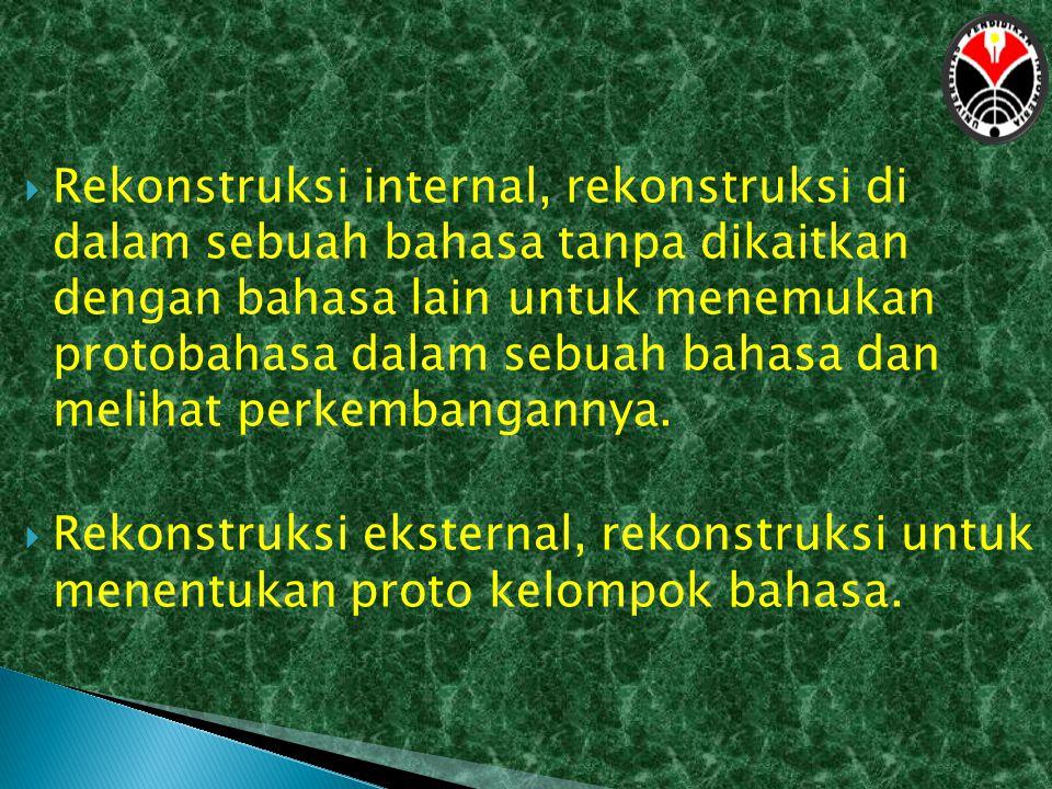  Rekonstruksi internal, rekonstruksi di dalam sebuah bahasa tanpa dikaitkan dengan bahasa lain untuk menemukan protobahasa dalam sebuah bahasa dan me