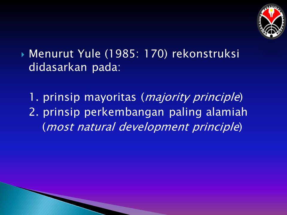  Berdasarkan prinsip pertama, jika dalam seperangkat bentuk terdapat tiga bentuk dimulai dengan fonem [p] dan satu bentuk dimulai dengan fonem [b], maka tebakan kita fonem proto dari bahasa tersebut adalah /p/.