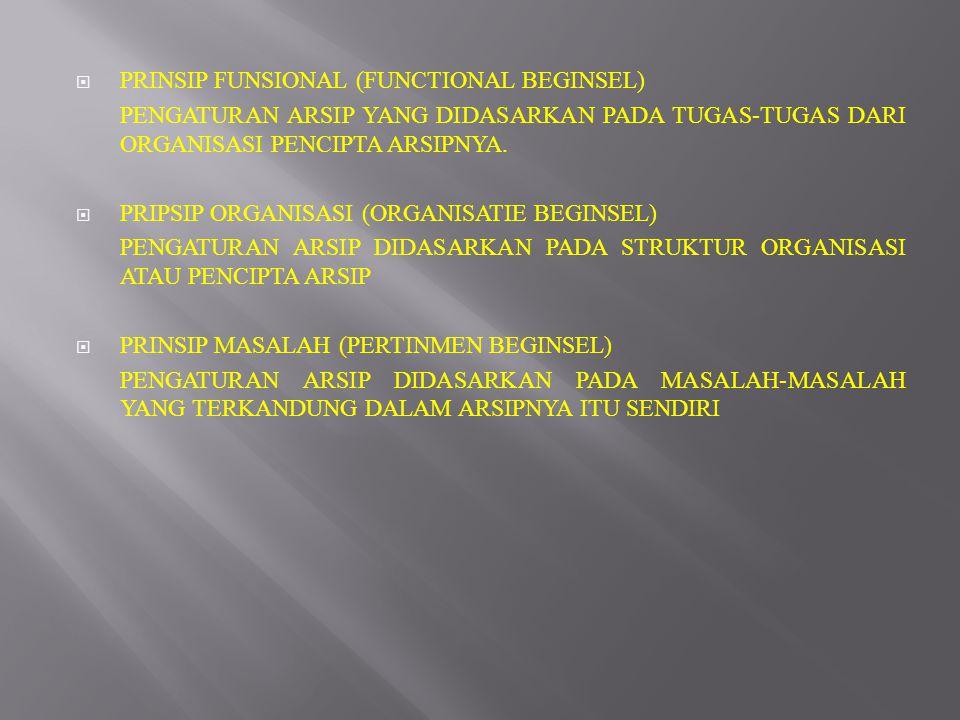  PRINSIP FUNSIONAL (FUNCTIONAL BEGINSEL) PENGATURAN ARSIP YANG DIDASARKAN PADA TUGAS-TUGAS DARI ORGANISASI PENCIPTA ARSIPNYA.