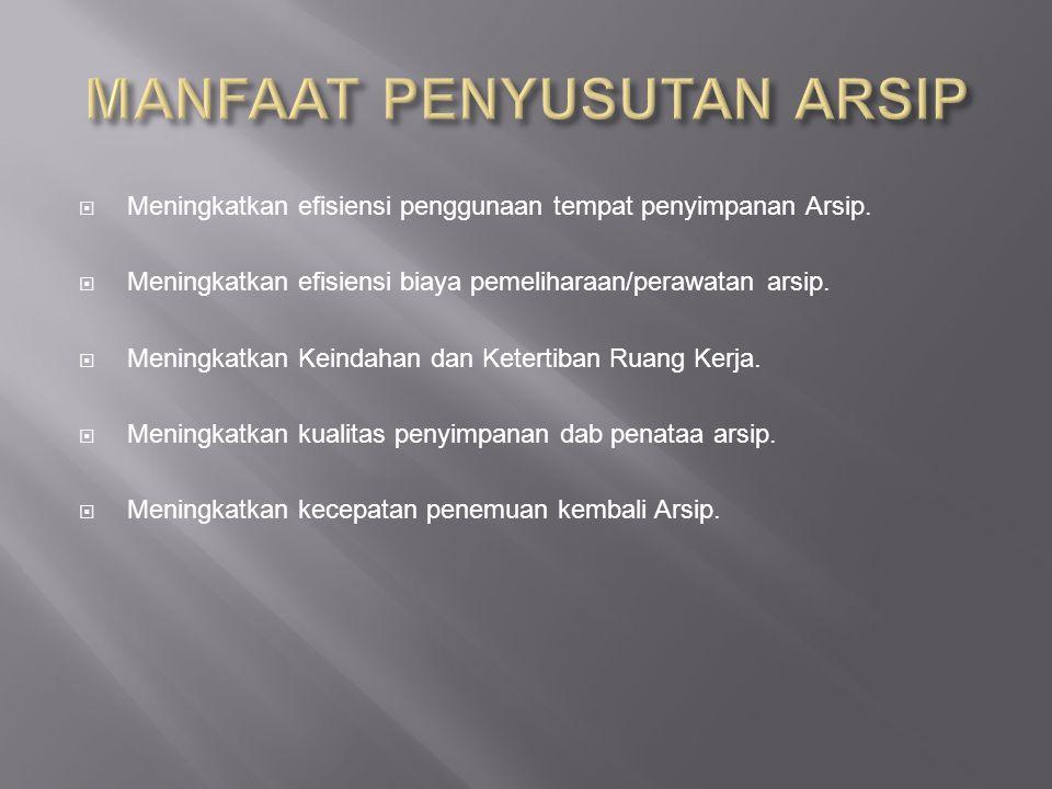  Meningkatkan efisiensi penggunaan tempat penyimpanan Arsip.