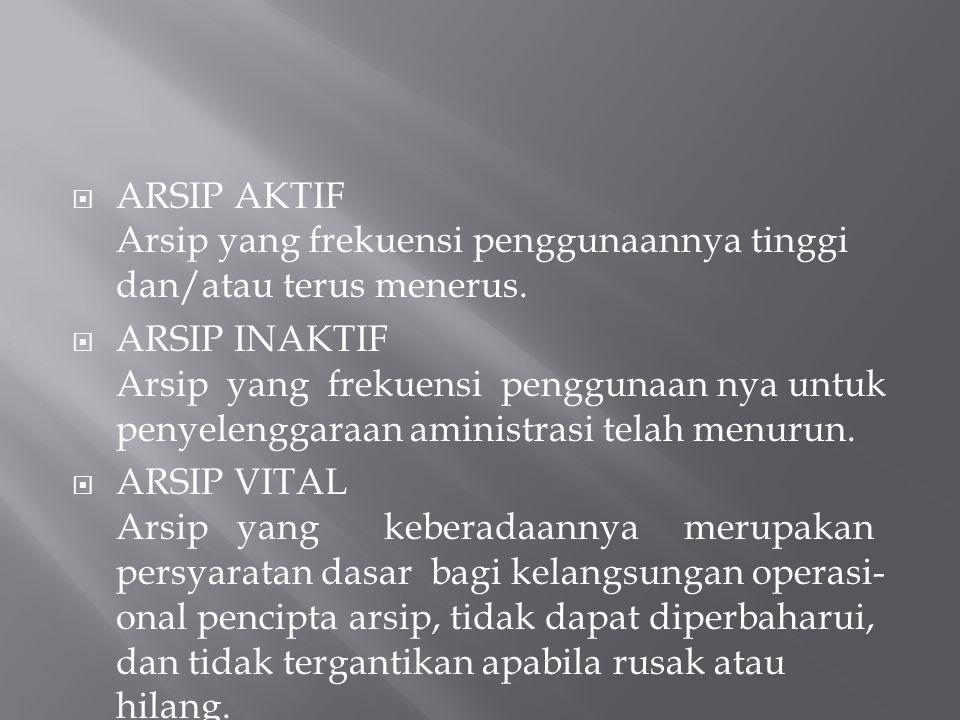  ARSIP AKTIF Arsip yang frekuensi penggunaannya tinggi dan/atau terus menerus.
