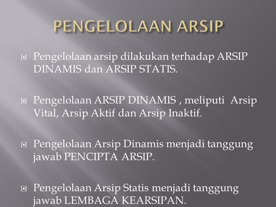  Pengelolaan arsip dilakukan terhadap ARSIP DINAMIS dan ARSIP STATIS.