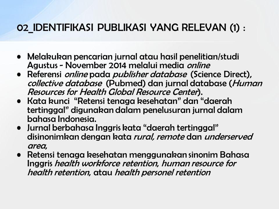 02_IDENTIFIKASI PUBLIKASI YANG RELEVAN (1) : Melakukan pencarian jurnal atau hasil penelitian/studi Agustus - November 2014 melalui media online Refer