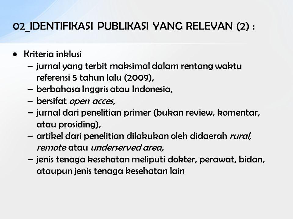 Kriteria inklusi –jurnal yang terbit maksimal dalam rentang waktu referensi 5 tahun lalu (2009), –berbahasa Inggris atau Indonesia, –bersifat open acc
