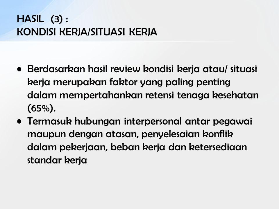 HASIL (3) : KONDISI KERJA/SITUASI KERJA Berdasarkan hasil review kondisi kerja atau/ situasi kerja merupakan faktor yang paling penting dalam memperta