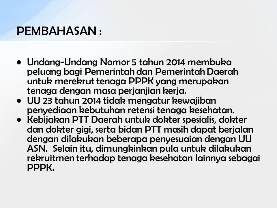 PEMBAHASAN : Undang-Undang Nomor 5 tahun 2014 membuka peluang bagi Pemerintah dan Pemerintah Daerah untuk merekrut tenaga PPPK yang merupakan tenaga d