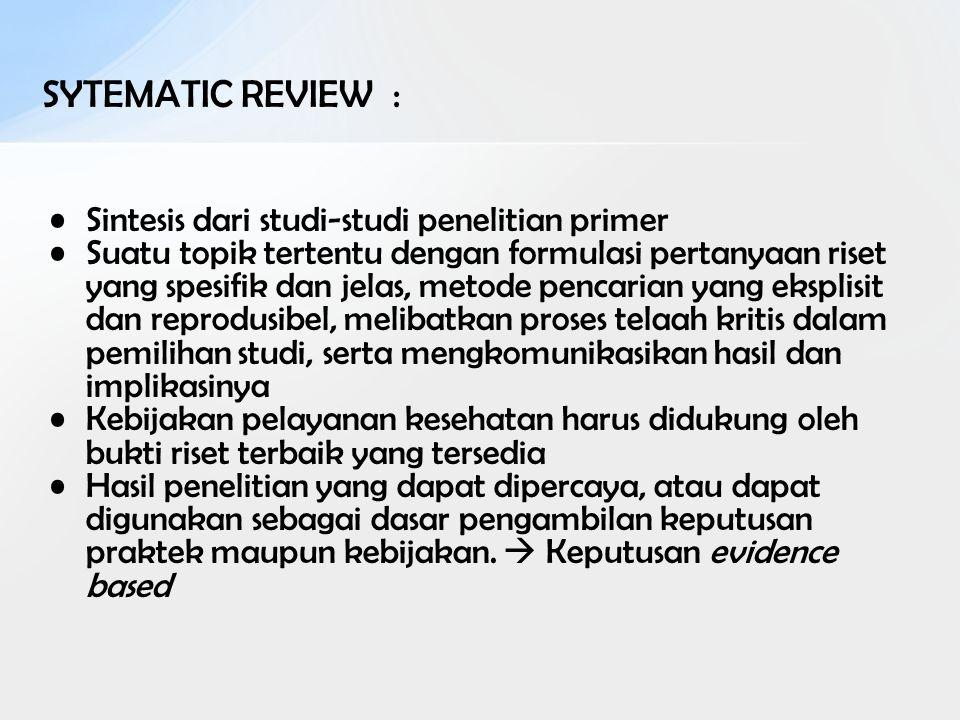 SYTEMATIC REVIEW : Sintesis dari studi-studi penelitian primer Suatu topik tertentu dengan formulasi pertanyaan riset yang spesifik dan jelas, metode
