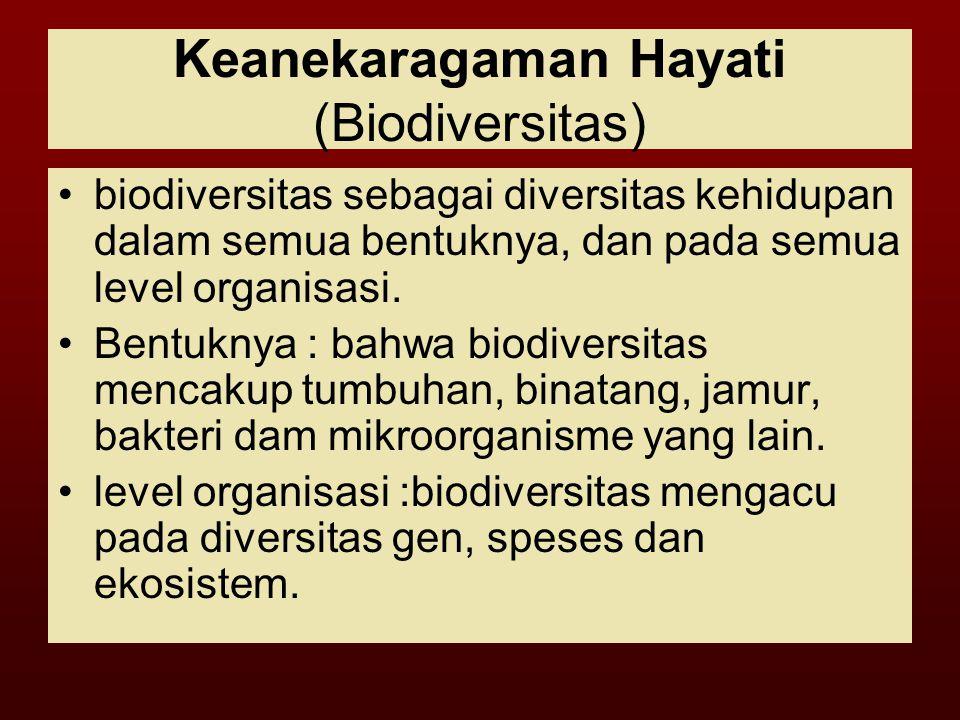 Keanekaragaman Hayati (Biodiversitas) biodiversitas sebagai diversitas kehidupan dalam semua bentuknya, dan pada semua level organisasi.