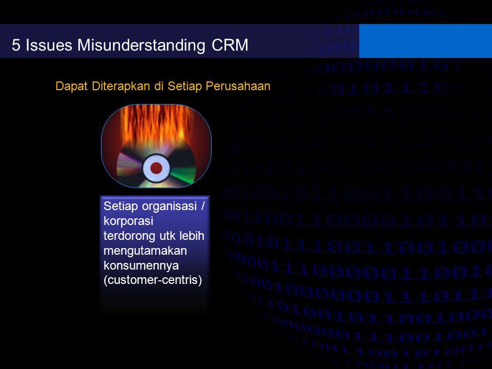 5 Issues Misunderstanding CRM Setiap organisasi / korporasi terdorong utk lebih mengutamakan konsumennya (customer-centris) Dapat Diterapkan di Setiap