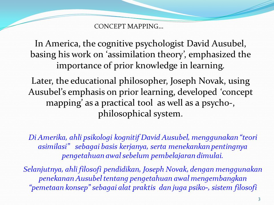 CONCEPT MAPPING… In America, the cognitive psychologist David Ausubel, basing his work on 'assimilation theory', emphasized the importance of prior knowledge in learning.