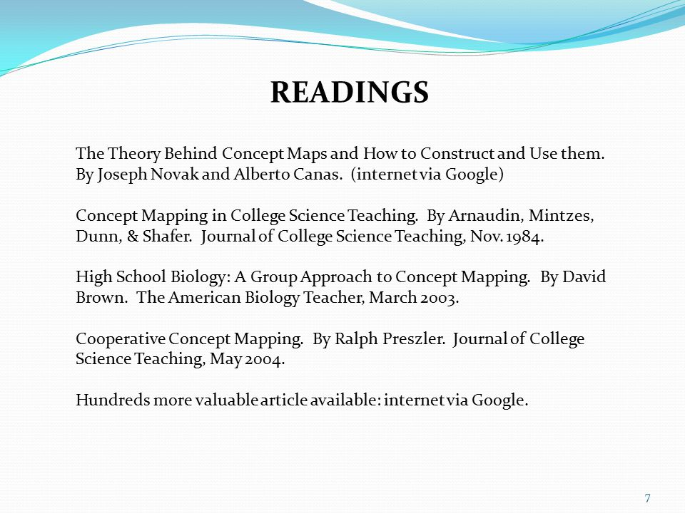 READINGS The Theory Behind Concept Maps and How to Construct and Use them.