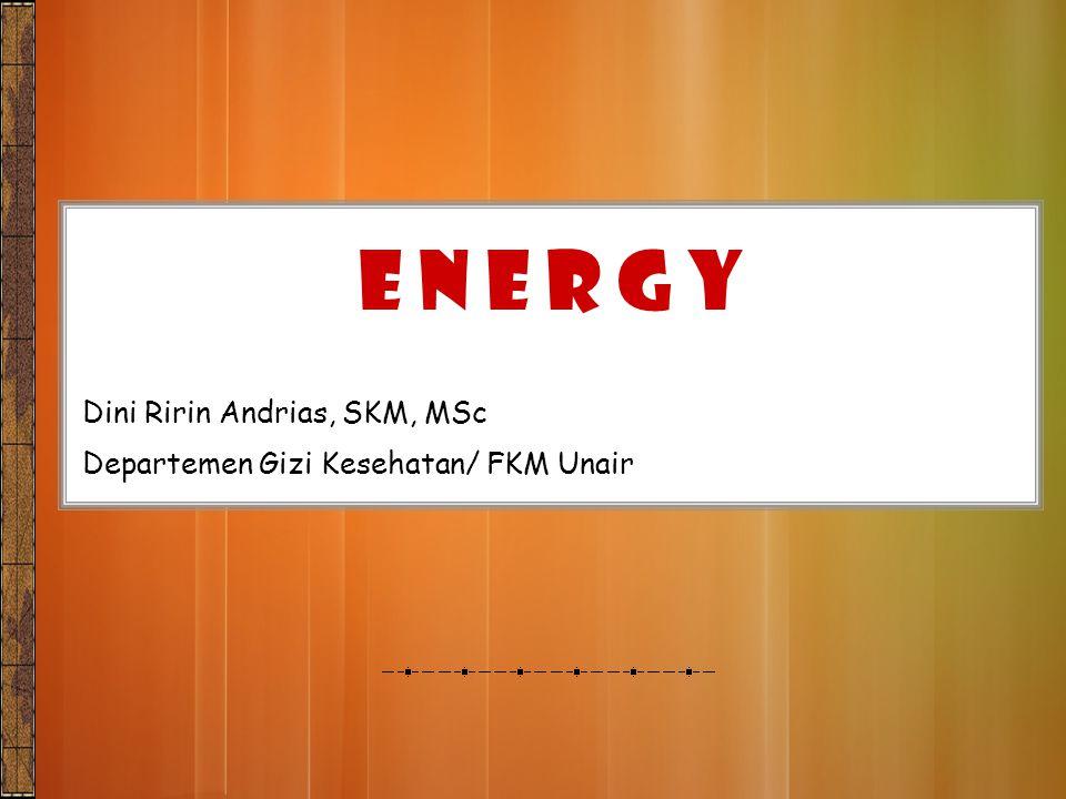 Manusia butuh energi untuk mempertahankan hidup, menunjang pertumbuhan & melakukan aktifitas fisik Energi diperoleh dari KH, L & P yg ada di dlm makanan Kandungan KH, L & P suatu bahan makanan menentukan nilai energinya INTRODUCTION