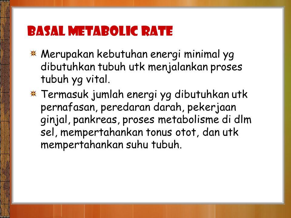 Basal Metabolic Rate Merupakan kebutuhan energi minimal yg dibutuhkan tubuh utk menjalankan proses tubuh yg vital. Termasuk jumlah energi yg dibutuhka