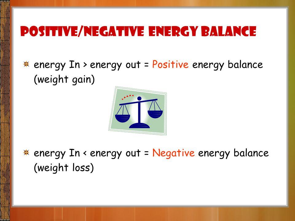 Positive/Negative energy balance energy In > energy out = Positive energy balance (weight gain) energy In < energy out = Negative energy balance (weig