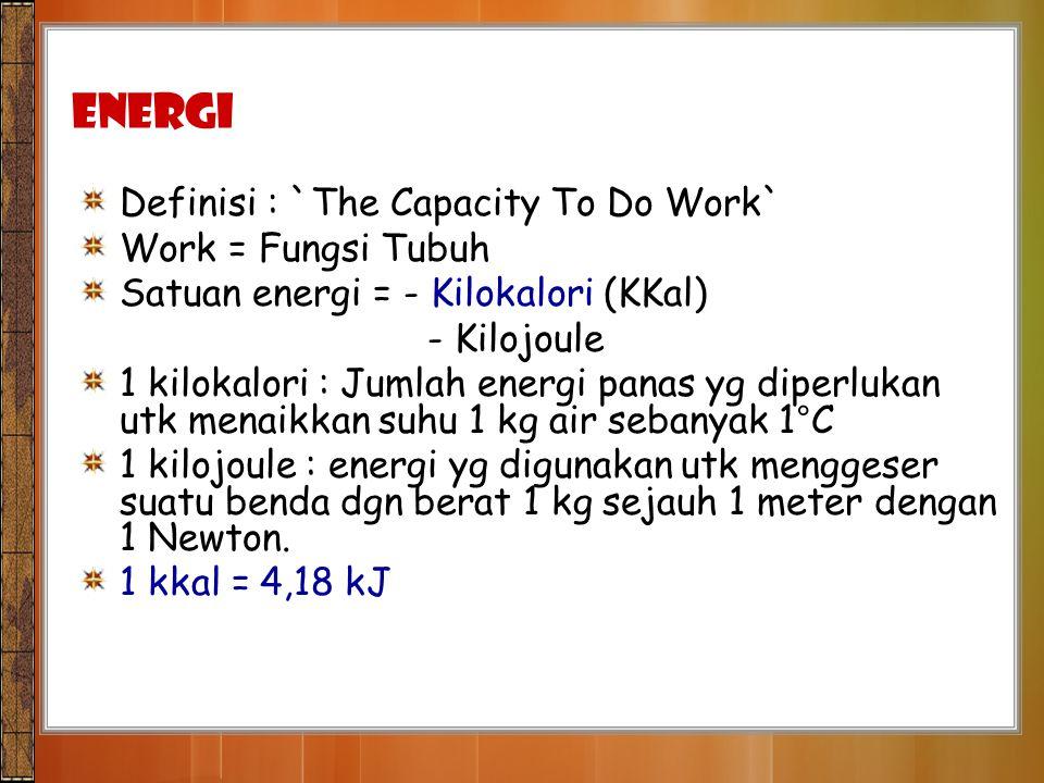 ENERGI Definisi : `The Capacity To Do Work` Work = Fungsi Tubuh Satuan energi = - Kilokalori (KKal) - Kilojoule 1 kilokalori : Jumlah energi panas yg