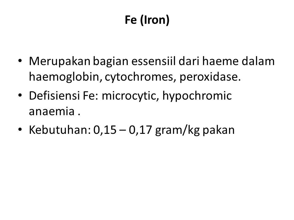 Fe (Iron) Merupakan bagian essensiil dari haeme dalam haemoglobin, cytochromes, peroxidase.