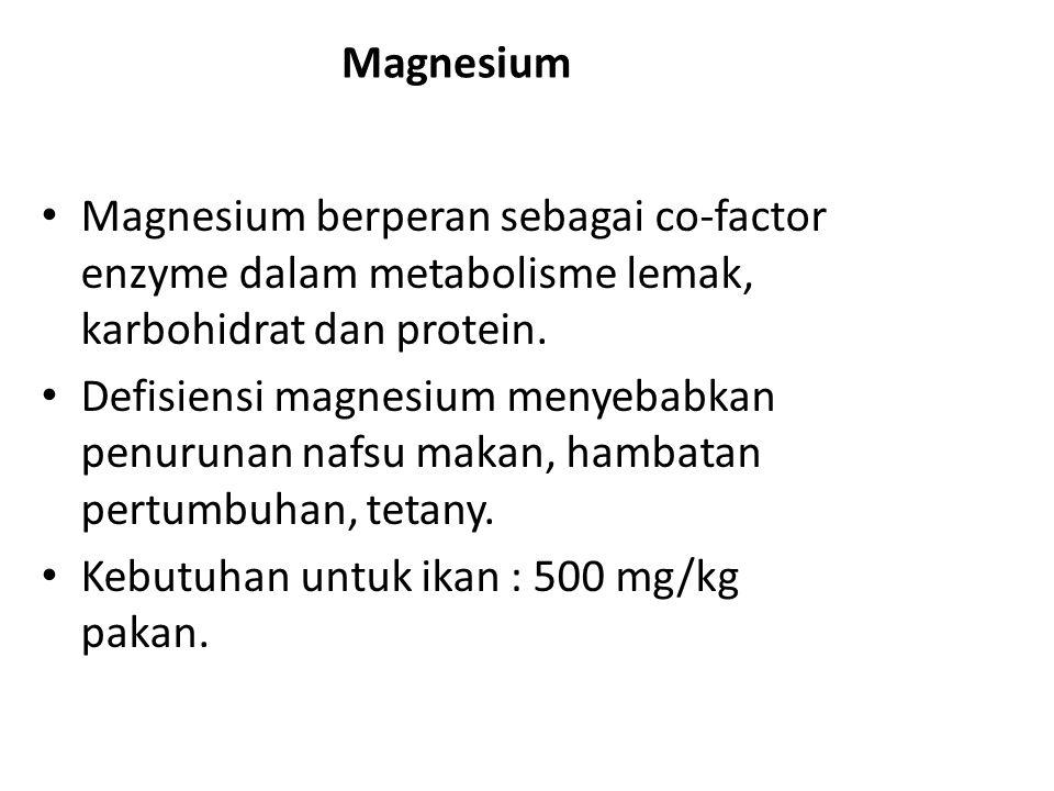 Sodium Peranan sodium: terutama sebagai kation monovalent antar cairan cellular, keseimbangan asam basa dan osmoregulasi.