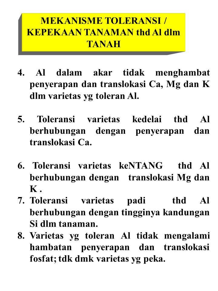 MEKANISME TOLERANSI / KEPEKAAN TANAMAN thd Al dlm TANAH 4.