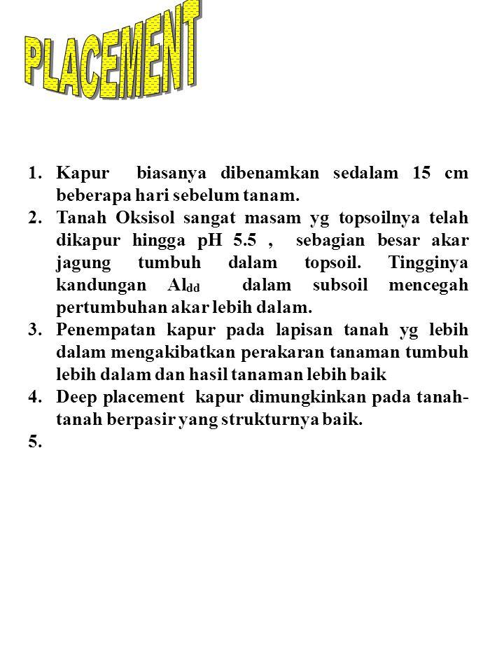 PENGAPURAN & HASIL JAGUNG 1 2 3 4 5 6 7 Dosis kapur ( ton/ha) Hasil biji, t/ha 654321654321 Sumber: Gonzales, 1973 Tanah Oxisols Zone pengapuran 0- 30 cm Zone pengapuran 0- 15 cm