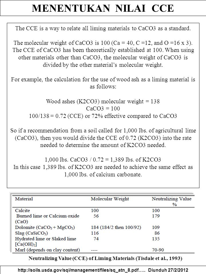 MENENTUKAN NILAI CCE http://soils.usda.gov/sqi/management/files/sq_atn_8.pdf….. Diunduh 27/2/2012 The CCE is a way to relate all liming materials to C