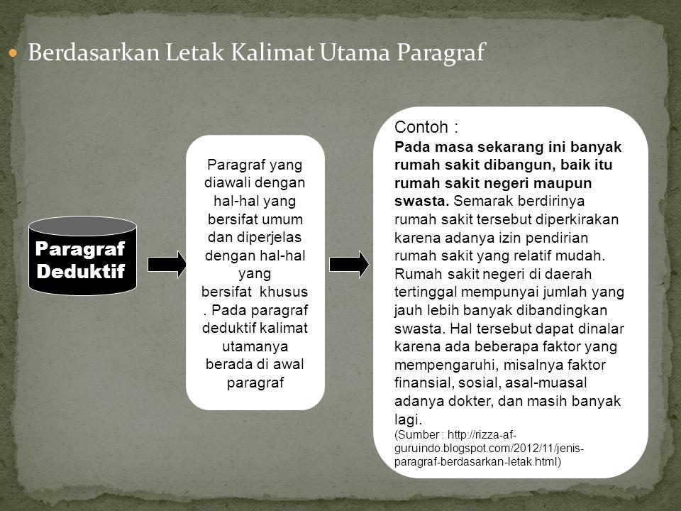 Berdasarkan Letak Kalimat Utama Paragraf Paragraf Deduktif Paragraf yang diawali dengan hal-hal yang bersifat umum dan diperjelas dengan hal-hal yang