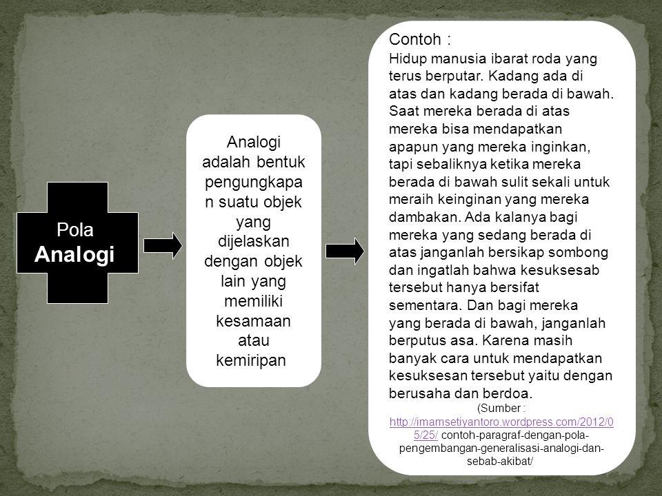 Analogi adalah bentuk pengungkapa n suatu objek yang dijelaskan dengan objek lain yang memiliki kesamaan atau kemiripan. Contoh : Hidup manusia ibarat